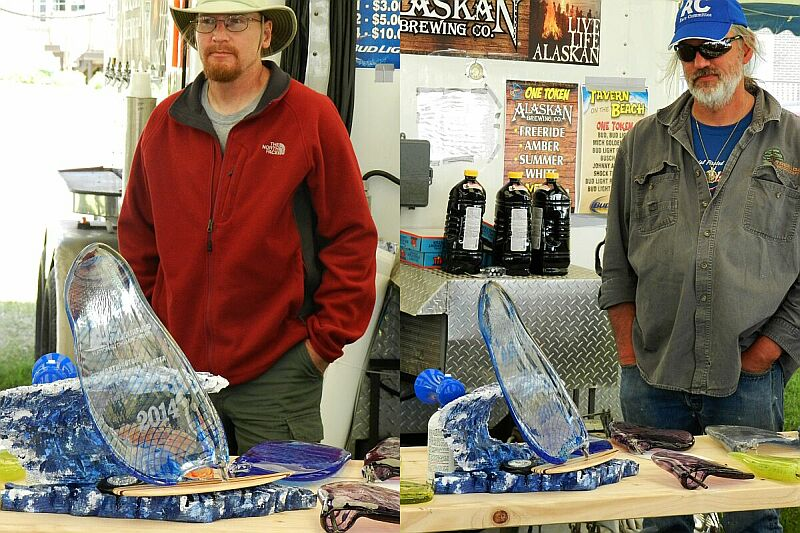 Artists Jeff Adamski and Jeff Hegwer and the gorgeous trophies they designed for the event!