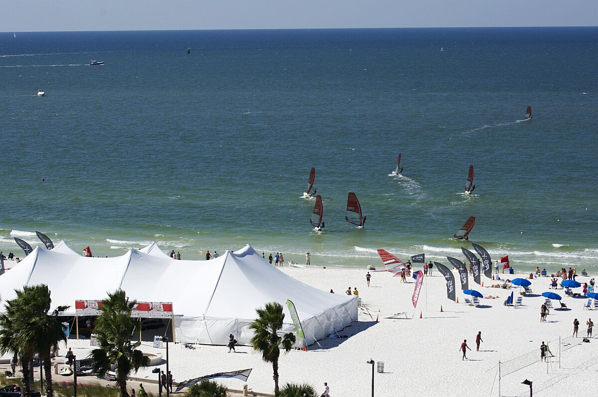 Beach venue for the 2014 RS:X Youth Worlds in Clearwater (credit: Russ Hendrickson)