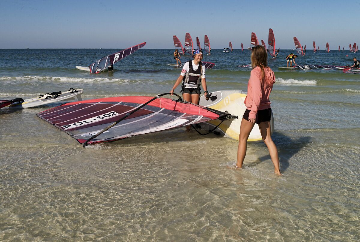 Patrycja Lis (POL) launches for the final race of the Clearwater 2014 Youth Worlds